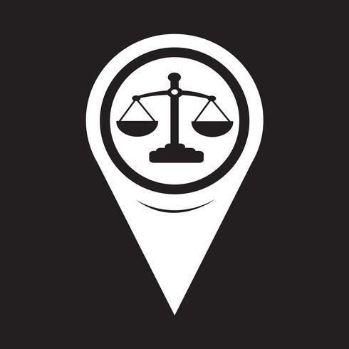 Kartenzeiger Waage der Gerechtigkeit-Symbol vektor