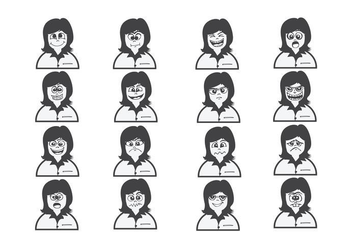 Karikaturgesichter stellten Zeichnungsillustration ein vektor