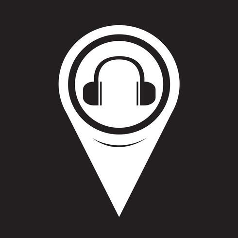 Kartpekare hörlurar ikon vektor