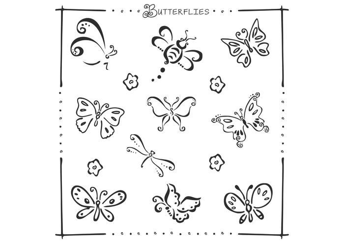 Doodle fjärilar vektor uppsättning