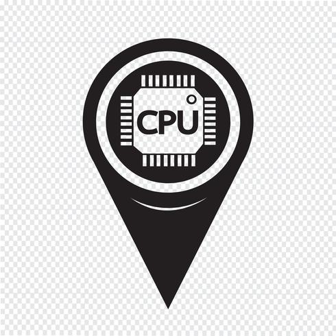 Map Pointer CPU-ikonen vektor