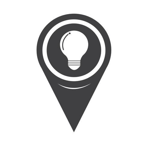 Kartpekaren glödlampa-ikonen vektor
