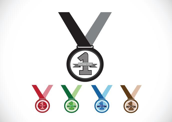 Medalj ikoner set vektor