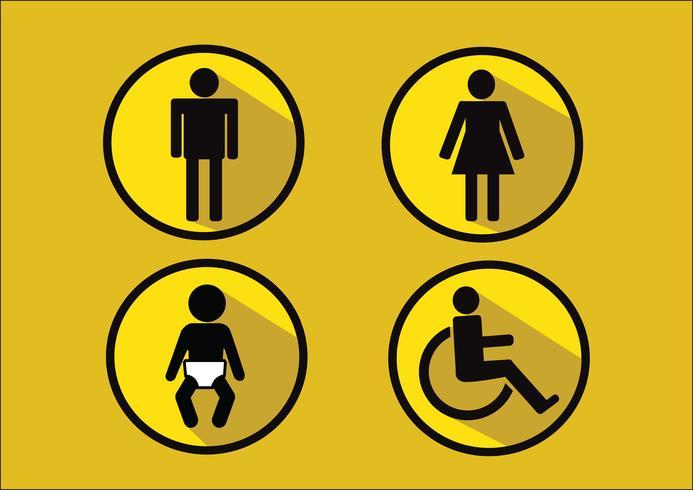 Toalett Symbol Ikon för man kvinna funktionshinder och barn vektor