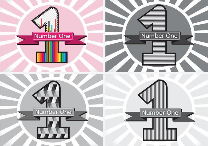 Nummer ett och vinnaren första plats skylt simbol med band vektor