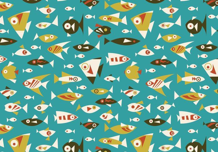 Retro fisk sömlös vektor mönster