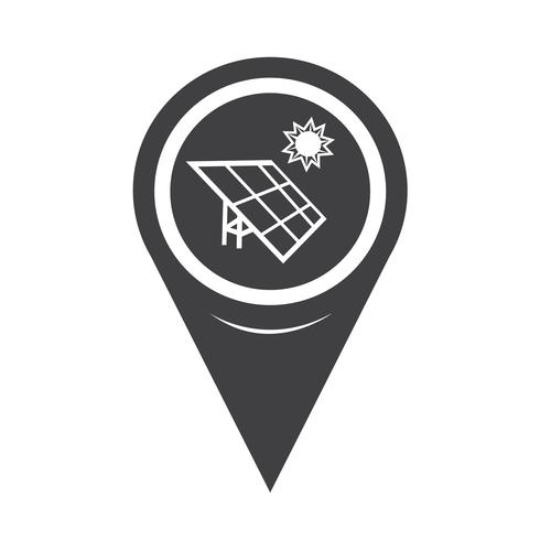 Kartenzeiger Solarenergie-Symbol vektor
