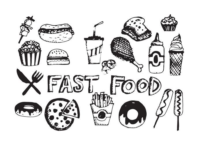 Fast-Food-Symbole Vektor Symbole