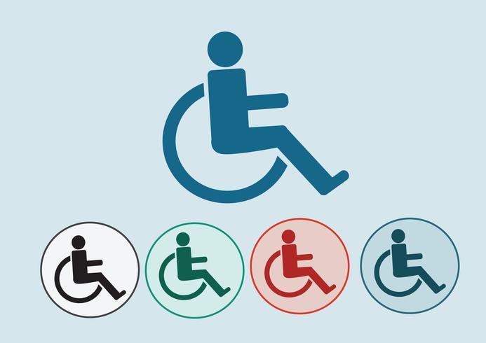 Rullstol handikapp ikon design vektor