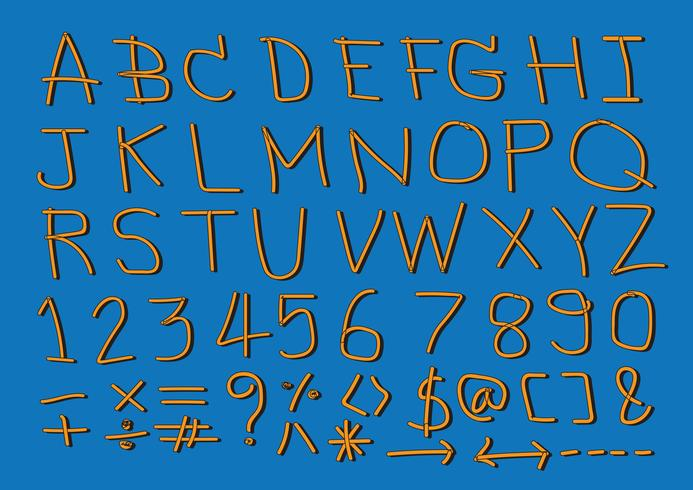 Handtecknad bokstäver font vektor