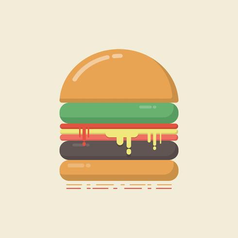 Retro flacher Hamburger vektor