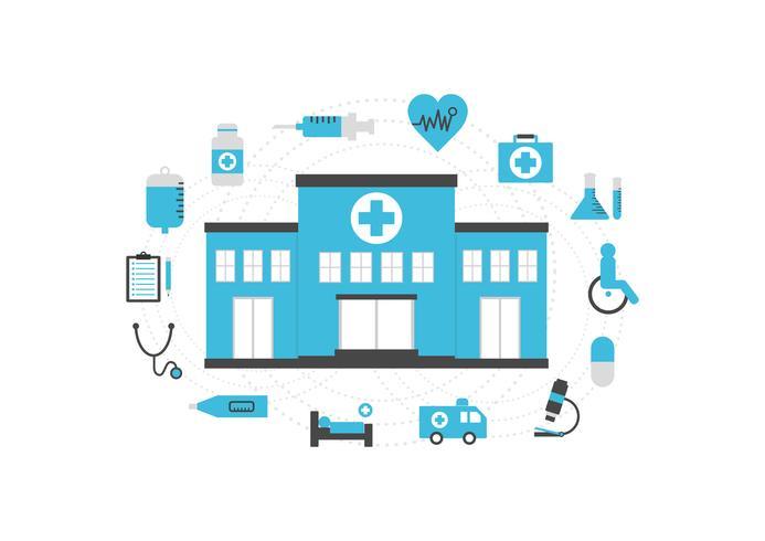 sjukhus Ikonuppsättning vektor