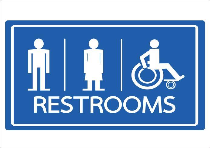 Restroom Symbol männlich weiblich und Rollstuhl-Handicap-Symbol vektor