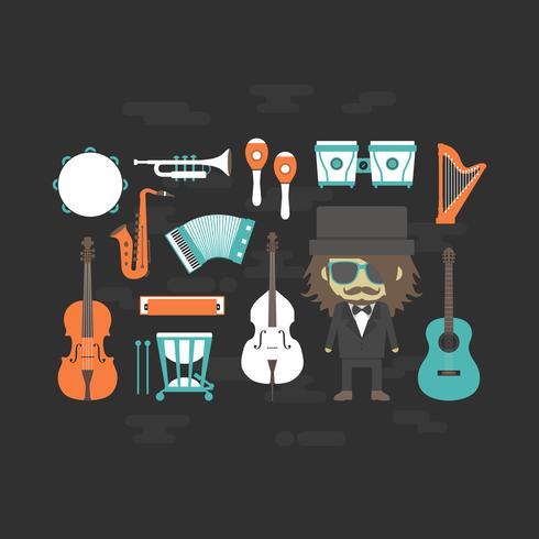 klassischer Musiker mit Musikinstrument vektor