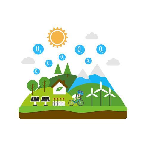 Umwelt und erneuerbares Konzept vektor