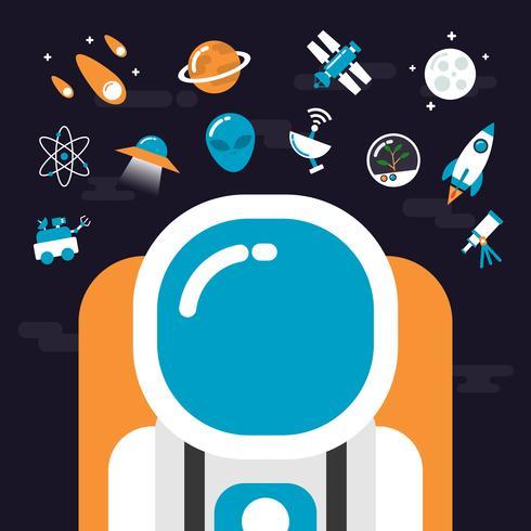 astronomi med ikoner vektor