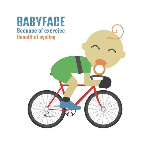 babyface cyklist på vitt vektor