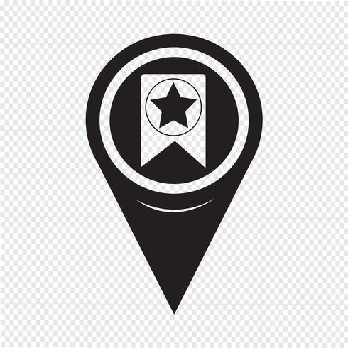 Kartenzeiger Web Bookmark Ribbon Icon vektor