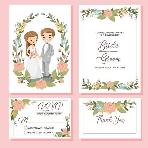 niedliche Braut und Bräutigam auf Hochzeitseinladungskartenschablone vektor