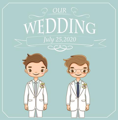 söta lgbt-par för bröllopinbjudningskort vektor