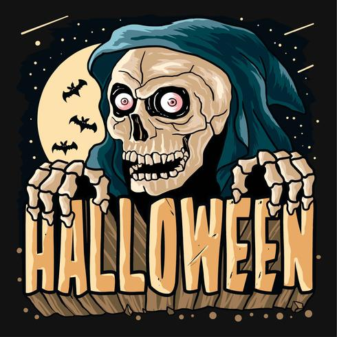 Sensenmann Horor Halloween-Parteikürbisvektor vektor