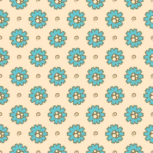 Vektormönster av blommor med linjer och cirklar vektor