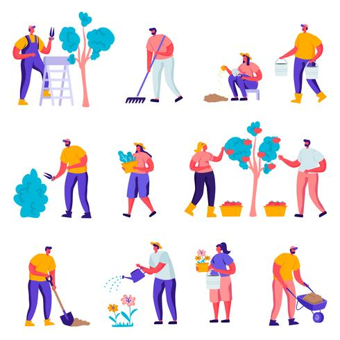 Satz flache Gärtner, die um Betriebscharaktere sich kümmern. Karikatur-Leute-Gartenarbeit-Leute, die Bäume im Garten oder im Gewächshaus wässern, pflanzen, harken. Vektor-Illustration. vektor
