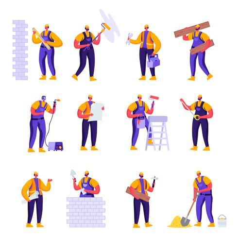 Uppsättning platt professionella byggnadsarbetare ingenjörer karaktärer. Tecknad filmhane i enhetliga overaller och hjälmar med utrustning. Vektorillustration. vektor