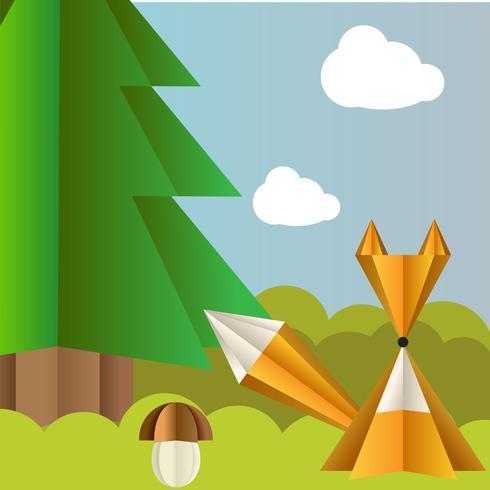 Vector Herbstlandschaft mit einem Fuchs, einer Fichte und einem Fliegenpilz