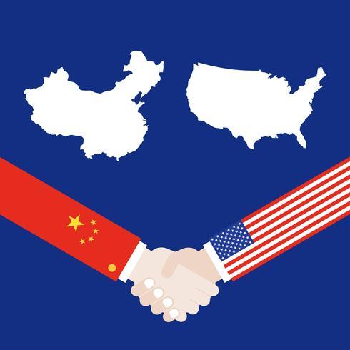 Karte Vereinigter Staaten und China-Karte mit dem Rütteln des Handvektors vektor