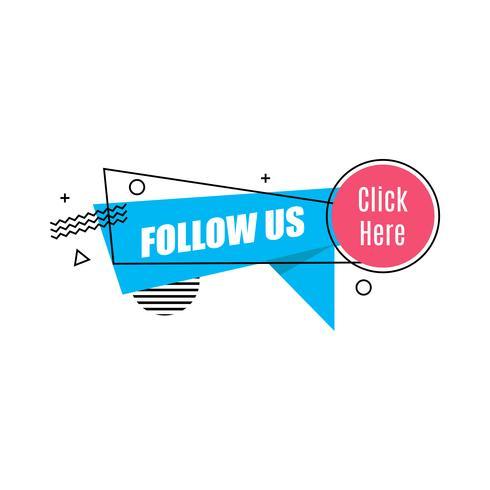 Vektor lineares Social Media-Tag. Folge uns. Isolierte Objekt auf weißem Hintergrund Memphis Style