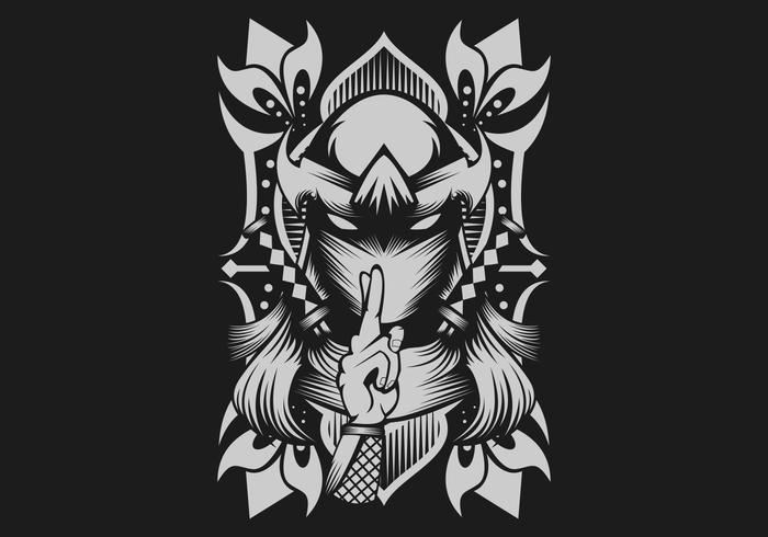 weibliche Ninja-Vektor-Illustration vektor