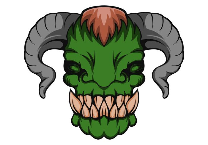 Orc monsterhuvudvektorillustration vektor
