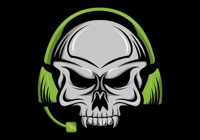 skalle hörlurar huvud vektor