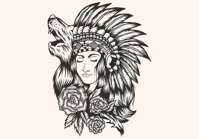 Schöne Mädchenvektorillustration des amerikanischen Ureinwohners vektor