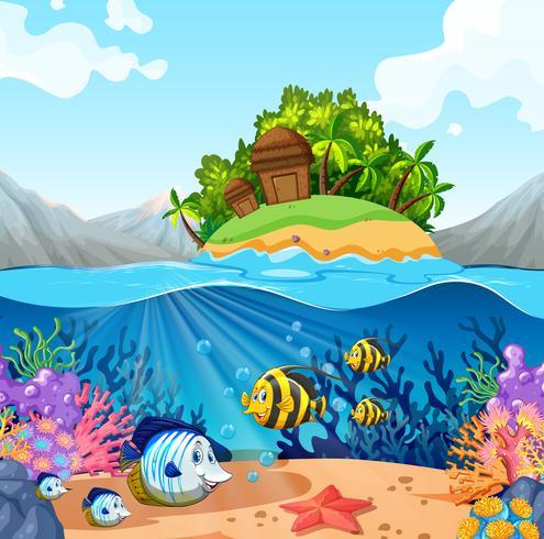 Havsutsikt med ö och fisk under vattnet vektor