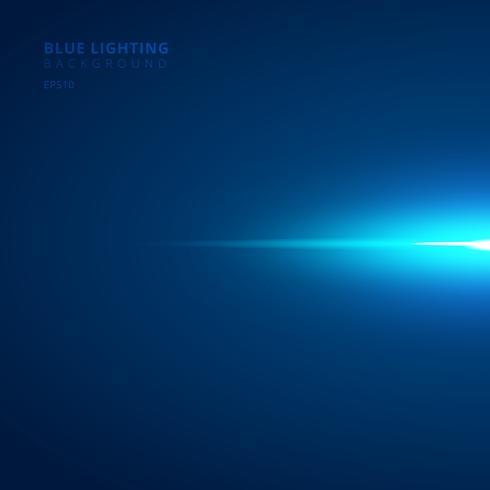 Abstrakta horisontella ljusstrålar för blå stråle på mörk bakgrund. vektor