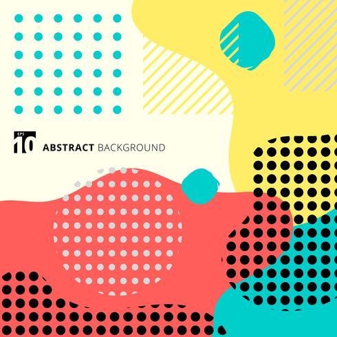 Abstrakt geometrisk form med linjen och prickar mönster trendig memphis stil på färgglad bakgrund. vektor