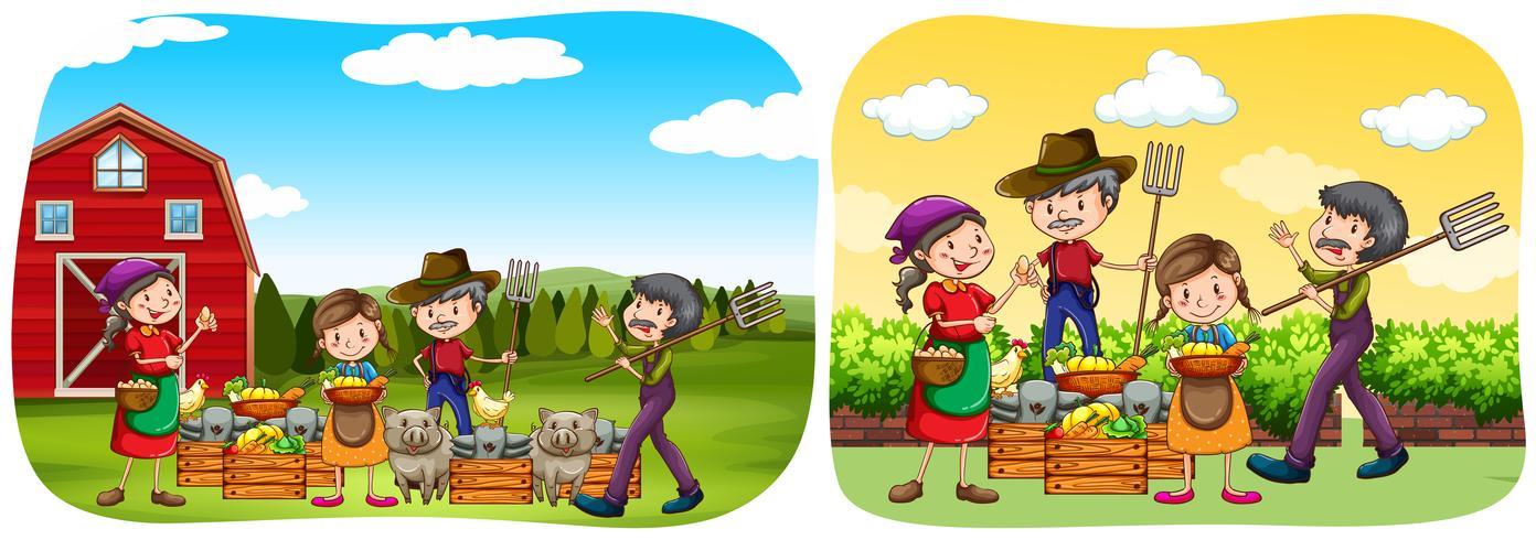 Jordbrukare och produkter på gården vektor