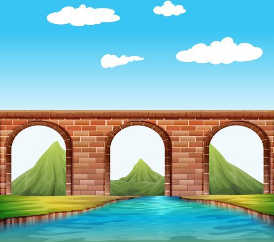 Bro över floden vektor