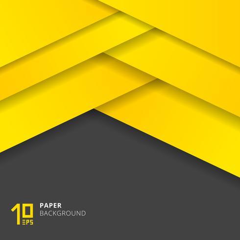 Abstraktes gelbes Papier schnitt Art auf grauem Hintergrundraum für Text. vektor