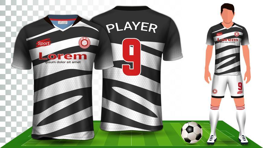 Fußballtrikot, Trikot oder Fußballtrikot Uniform Presentation Mockup Template. vektor