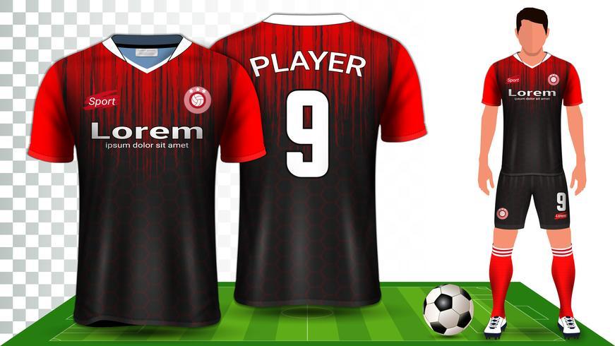 Fotbollströja, sportskjorta eller fotbollssats enhetlig presentationsmall. vektor