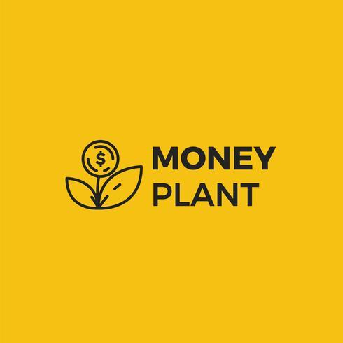 Geld Pflanzenlogo. Wachstum von Investitionen und Investitionen. Logo des Treuhandfonds. vektor