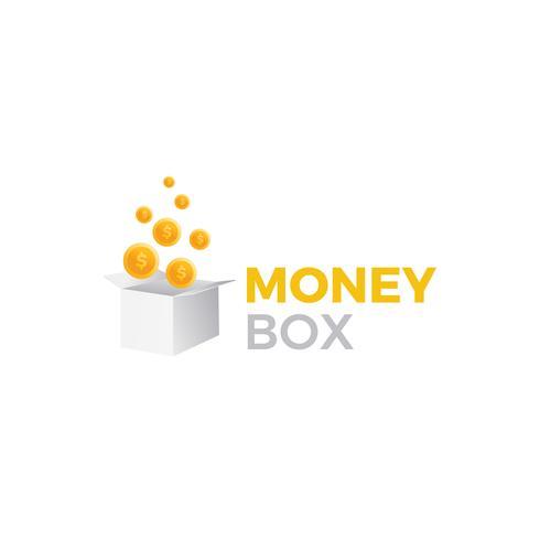 Sparbüchsen-Logo. Preisgeschenk mit Dollarmünzenillustration. Vektor