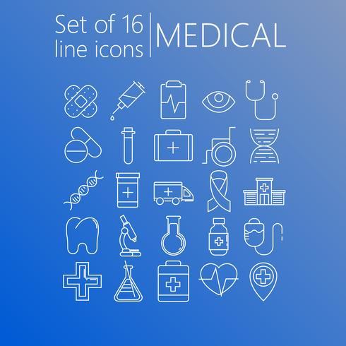Satz von 20 Linie Ikonen des medizinischen Themas vektor