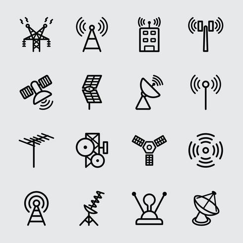 Antennen- und Satellitenliniensymbol vektor