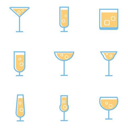 Reihe von einfachen Cocktails und alkoholischen Getränken vektor
