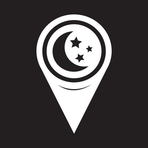 Karta Pointer Moon Star Ikon vektor