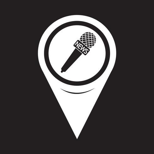 Map Pointer News Mikrofon-Symbol vektor